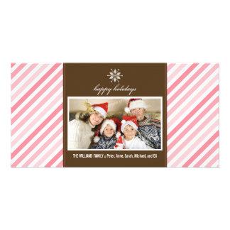 Snowflake Ribbon Family Holiday Photocard (pink) Card