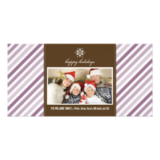 Snowflake Ribbon Family Holiday Photocard (purple) Picture Card