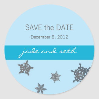 snowflake save the date classic round sticker