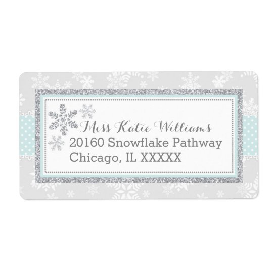 Snowflake Silver Glitter Blue Baby Boy Label Shipping Label