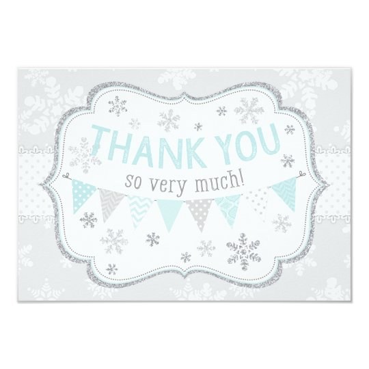 Snowflake Silver Glitter Winter Thank You Card