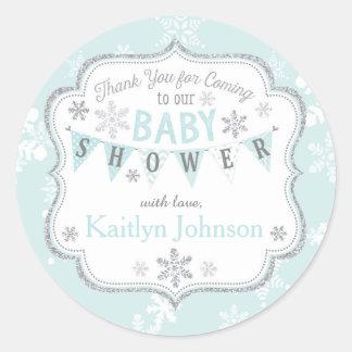 Snowflake Silver Glitter Winter Thank You Label