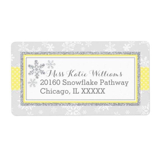 Snowflake Silver Glitter Yellow Label