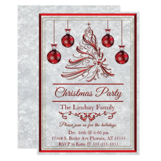 Snowflake Simmer Red Holiday Party Card