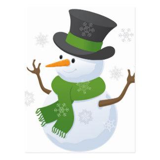 Snowflake Snow Winter Snowy Blizzard Snowman Post Card