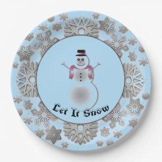 Snowflake Snowman Silver Paper Plate
