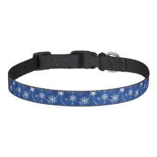 Snowflake Sparkle Blue Dog Collar