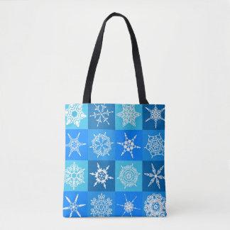 Snowflake Squares on Blue Tote Bag