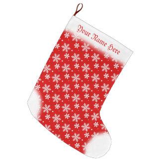 Snowflake Stocking Custom Red Christmas Stockings Large Christmas Stocking