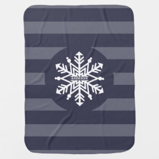 Snowflake Stripes Personalized With Baby's Name Baby Blanket