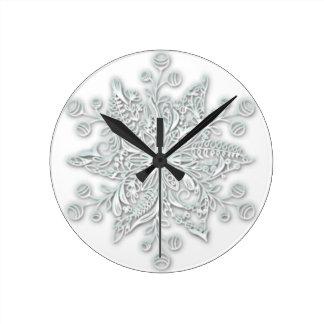Snowflake Swirl Round Clock
