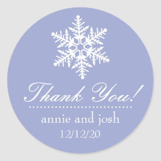 Snowflake Thank You Labels (Purple) Round Sticker