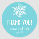 Snowflake Thank You Labels (Teal) Round Stickers