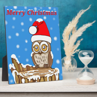 Snowflake the Owl at Christmas Plaque