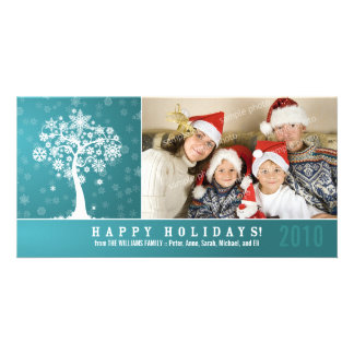 Snowflake Tree Family Holiday Photocard (aqua) Card
