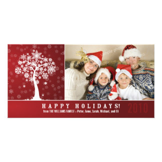 Snowflake Tree Family Holiday Photocard (red) Card