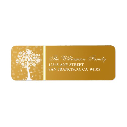 Snowflake Tree Holiday Address Labels (gold)