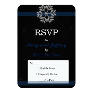 Snowflake Wedding RSVP Card with Blue Banner