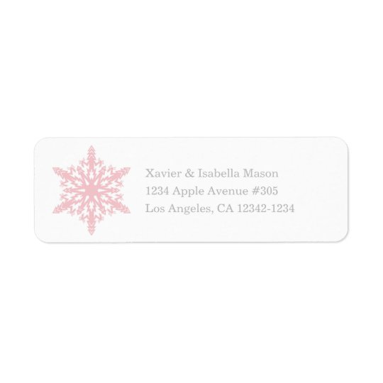 Snowflake | White/Pink Return Address Label