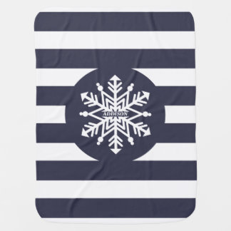 Snowflake White Stripes Personalized Baby's Name Baby Blanket