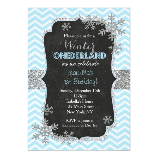 Snowflake Winter Birthday Party Invitations
