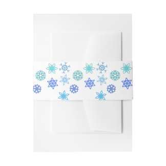 Snowflake Winter Themed Belly Band Invitation Belly Band