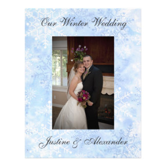 Snowflake Winter Wedding Custom Scrapbooking Paper Letterhead Template