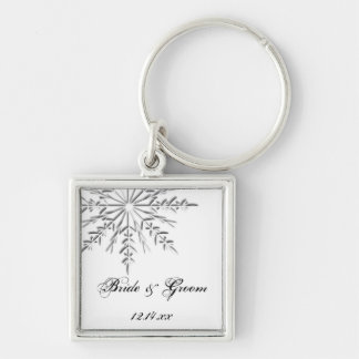 Snowflake Winter Wedding Keychain