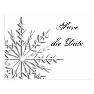 Snowflake Winter Wedding Save the Date Postcard