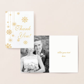 Snowflake winter wedding Thank You photo gold Foil Card