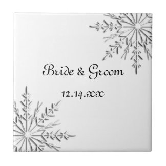 Snowflake Winter Wedding Tile