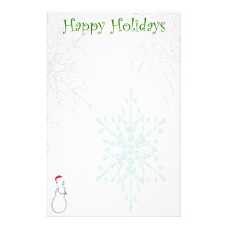 Snowflake with Snowman Accent Christmas Stationery
