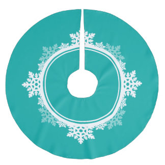 Snowflake Wreath in Teal Blue & White Brushed Polyester Tree Skirt