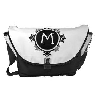 Snowflake Wreath Monogram in Black and White Messenger Bags