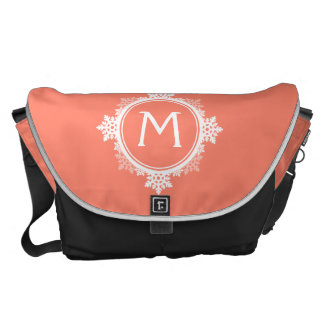 Snowflake Wreath Monogram in Coral Pink & White Commuter Bags