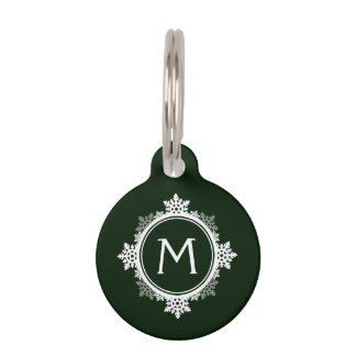 Snowflake Wreath Monogram in Dark Green & White Pet ID Tag