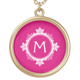 Snowflake Wreath Monogram in Fuchsia Pink & White Gold Plated Necklace