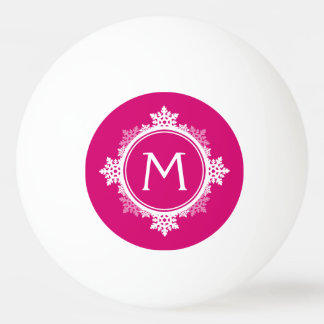 Snowflake Wreath Monogram in Fuchsia Pink & White Ping Pong Ball