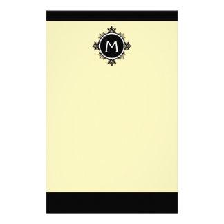 Snowflake Wreath Monogram in Yellow, Black, White Personalized Stationery