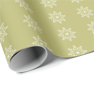 Snowflake Xmas Olive Green Christmas Holiday Wrapping Paper