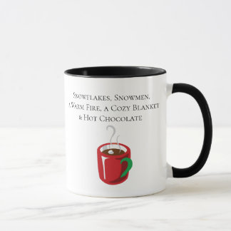 Snowflakes, a Warm Fire, and Hot Chocolate Mug