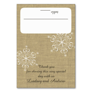 Snowflakes and Burlap Seating Card