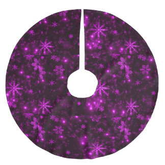 Snowflakes and Deep Purple Background Tree Skirt Brushed Polyester Tree Skirt
