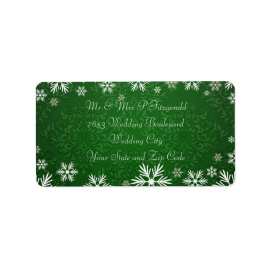 Snowflakes and Green Damask Wedding Label