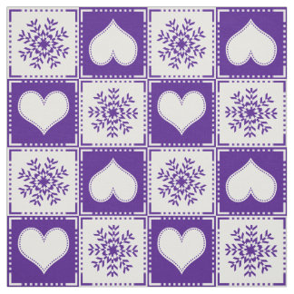 Snowflakes and Hearts Elegant Purple Ski Chalet Fabric
