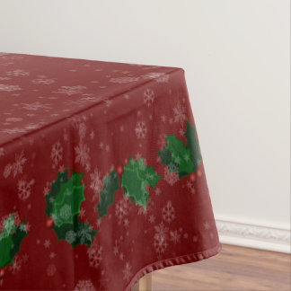 "Snowflakes and Holly Winter Holiday 52""x70"" Tablecloth"