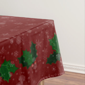 "Snowflakes and Holly Winter Holiday 60""x104"" Tablecloth"