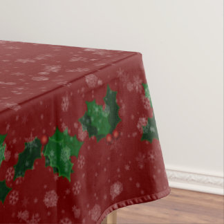 "Snowflakes and Holly Winter Holiday 60""x84"" Tablecloth"