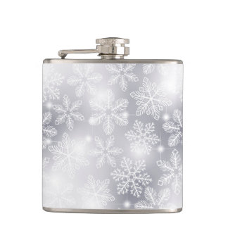 Snowflakes and lights hip flask