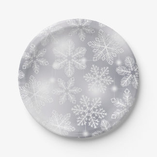 Snowflakes and lights paper plate